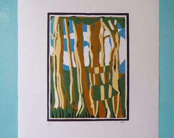Linocut of chiltern beechwoods and Gplan dining chair in soft greens, oranges and blue. Image of Midcentury furniture and English woodlands.
