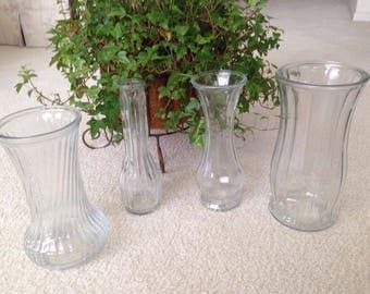Clear Glass Vases (some vintage) Varied Sizes
