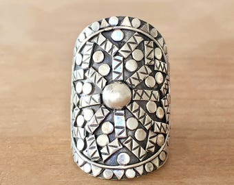 Mandala Sterling Silver Ring, Silver Mandala Ring, Boho Ring, Mandala Ring, Sterling Silver Ring, Bohemian Ring, Gypsy Ring, Mermaid Ring