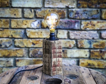 Table Lamp Handmade from Reclaimed Wood with Vintage Bulb MB076