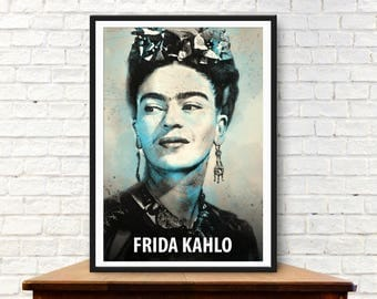 Frida Kahlo, Frida Kahlo Poster, Frida Kahlo print, Frida Kahlo art, Celebrity art, woman print, Feminist art, Frida Kahlo wall art, mexican
