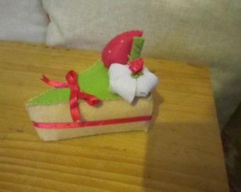 Handmade Pin Cushion Cake Slice Gift Felt Ribbon
