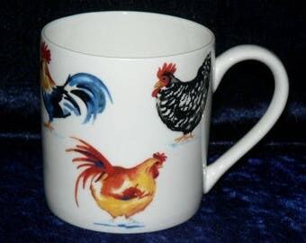 Chicken rooster 1 pint bone china mug diff all round - personalised if required at no extra cost