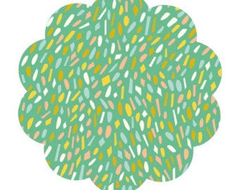 Happy town poplin. Happy spots mint fabric. Quilt poplin. Mint spot print sewing/craft fabric. Moderm quilting fabric. Apparel fabric supply