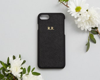Saffiano Leather Phone Case iPhone 7 Cover Black