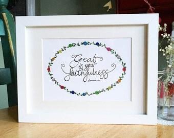 A5 Original Hand-lettered Fine Art Print - 'Great is your faithfulness' - Lamentations 3:23 - Bible verse - Inspirational