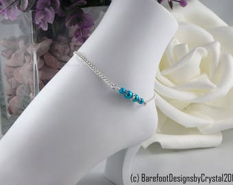 Silver Turquoise Pearl Diamond Rhinestone Ankle Bracelet, Ankle Bracelet, Silver Chain Ankle Bracelet, Pearl Diamond Ankle Bracelet