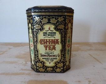 China Tea Tin, Kitchen Storage, Vintage French Tin, Metal Box 0317046-181