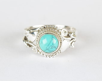 Turquoise Ring, Pure 925 Sterling Silver Ring, Nickel Free Silver Ring, Gypsy Style Ring, Healing Ring, Gift for her, Statement Ring, RS-419