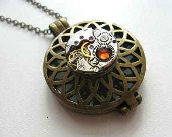 Steampunk necklace Steampunk locket Steam punk pendant Statment necklace Steampunk jewelry Vintage watch movement