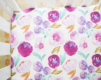 Purple watercolor, floral, crib sheet, girls baby bedding, shabby chic, floral prints, modern, chic, pretty flowers, girl baby shower, pink
