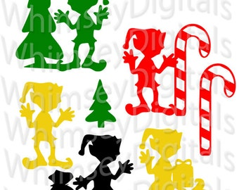 Christmas Boy Elf, svg Cut File, Digital Download, Vinyl Cutting, Santa's Helper Scrapbook Die Cut, Candy Cane, Santa Sack, Pine Tree