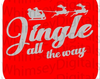 Jingle Santa Sleigh, Christmas SVG Digital Download, Vinyl Cut File, Scrapbook Embellishment, Tshirt Design, Gift Idea