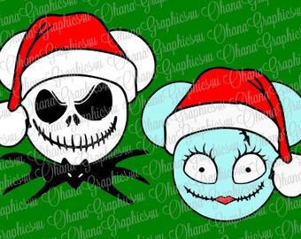 Jack Skellington and Sally with Santa Hats SVG