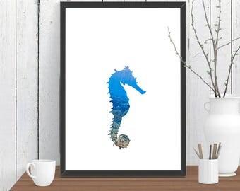 Seahorse Print, Wall Art, Animal, Room Decor, Woodland, Wildlife, Minimalist, Poster, Child Baby Nursery A4 A3 A2 8x10 11x14 12x18 16x20