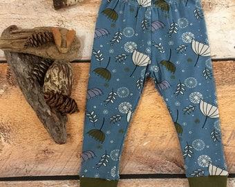 Baby or Toddler Leggings, Denim Blue Breezy Seeds, 3m-4T