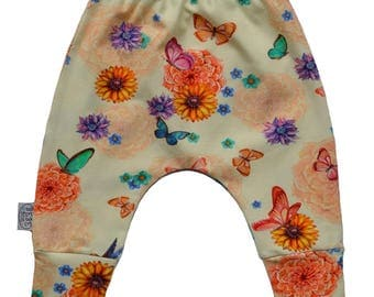 Harem trouser baby flowers and butterflies, baby pants baby pants, baby pants, cheerful girls cream
