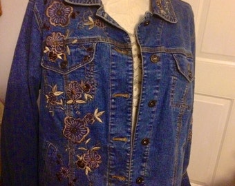 SALE From 29. To 24. Vintage Women's Embellished Denim Jean Jacket In size 18/20