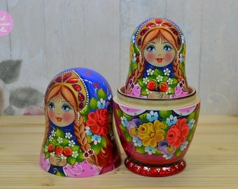 Handmade nesting doll, Russian matryoshka with strawberries, Gift idea for daughter, Gift for woman, Wooden hand painted stacking dolls