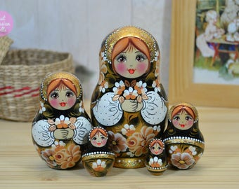 Russian nesting doll, Handmade Matryoshka, Gift for friend, Babushka in black and gold, Gift for woman, Wooden hand painted stacking dolls