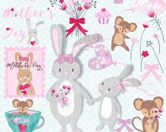 Mother's Day Clipart-Mother's Day Clip Art-Bunny Rabbit Clipart-Mouse Clipart-Flower-Cupcake-Balloon Clipart-BUY2GET1MOREFREE