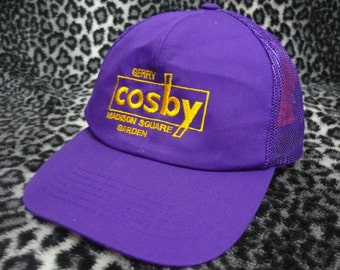 Vintage GERRY COSBY Madison Square Garden Embroidered Logo Spellout Trucker Cap