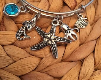 Starfish,Mermaid,Octopus,Fish Bangle,Sea life Bracelts,Adjustable