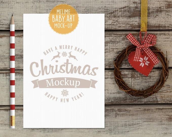 Christmas Mockup, 5x7 Christmas invite Mockup, Flatlay Christmas Mockup, Styled Photography Mockup, Christmas Card Mockup (Red.Christmas)