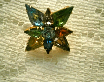 Star multi-color Rhinestone Brooch