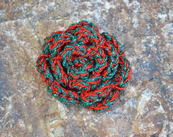 Sparkly Red and Green Crochet Rose Clip