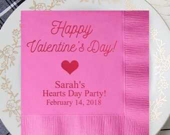 100 pcs Happy Valentine's Day Personalized Napkins - Wedding Napkins - Bridal Shower Napkins