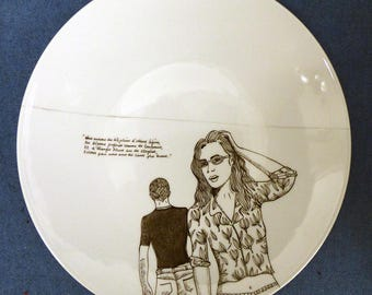 Hand painted porcelain collection plate  - tell me about love-1