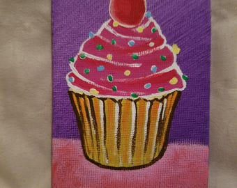 Tiny 3x5 canvas painting cupcake