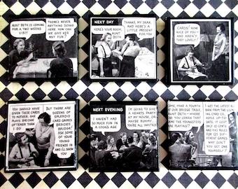 Tile Coasters, Vintage Embellished Decorative Tiles, Old Magazine Advertisements, Drink & Barware, Ceramic Tile,  Drink Coasters