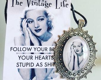 Vintage Retro VLV Pinup Girl Blonde Custom Made Photo Pendant Necklace