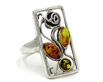 Multi Colored Amber Sterling Rose Ring