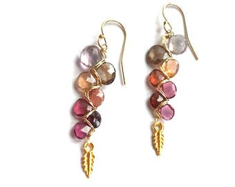 Pink Tourmaline, Spinel, Ametrine and Zircon Earrings--Tourmaline Earrings--Spinel Earrings