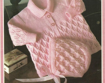 Baby Coat and Bonnet  Knitting Pattern.
