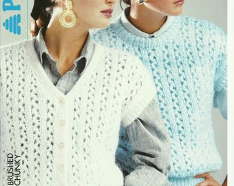 Ladies Slipover and Waistcoat Knitting Pattern.