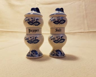 Vintage Blue Onon Salt and Pepper Shakers Made in Japan