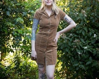 VINTAGE 1990s ENT Brown Corduroy Buttonup Dress
