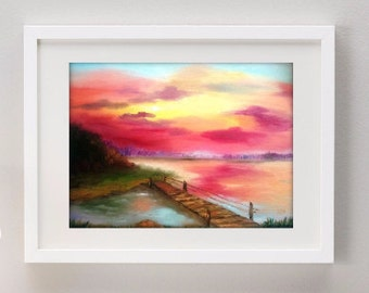 Landscape oil painting on canvas 12x16 with free shipping / gift for mom / gift for grandmother / sunset river forest landscape pink blue