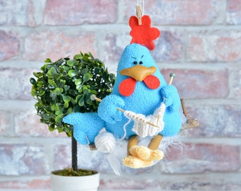 Rooster Year of the rooster kitchen decor rooster ornament rooster decor knitting rooster blue rooster Easter rooster Bird Chicken