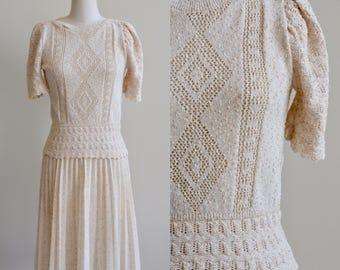 1970 Knit Dress / Cream Crocheted Dress Set / Vintage 70s Beige  Knitwear Blouse and Skirt Dress / Medium Large  M L M/L