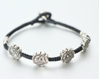 Silver Charm Bracelet, Flower Charm Bracelet, Wedding Gifts, Work Bracelet, Simple Bracelet, Boho Chic Wrist Band, Hand Accessories B114