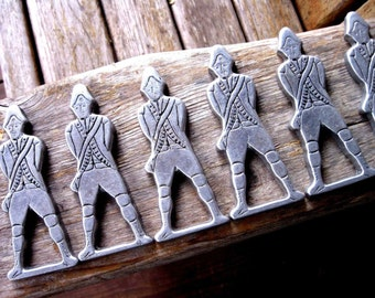 Six vintage primitive pewter  Napkin Rings Wilton Columbia PA colonial soldier