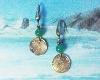 Bronze earrings, handmade bronze pieces with vegetal pattern, green agat beads  , made  in France