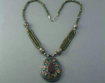 Vintage kyrgyz necklace from Afghanistan with jade stones