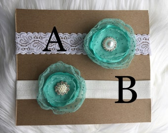 Shabby Chic lace headband with mint flower baby-toddler