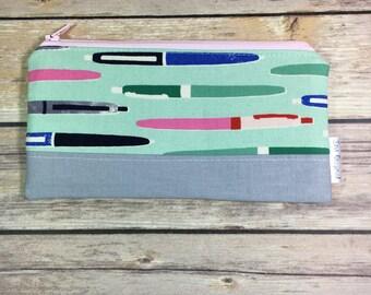 Pencil Case, Pencil Poich, Pen Fabric, Aqua Pencil Case, Zippered Pouch, Fabric Pencil Case, Student Gift, Adult coloring